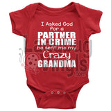 Crazy Grandma Onesie Baby Bodysuit / Red Nb T-Shirt