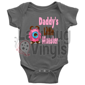 Daddys Little Monster (Pink) Onesie Baby Bodysuit / Asphalt Nb T-Shirt