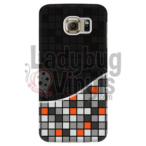 Dark Black Grey And Orange Grid Phone Case Galaxy S6 Edge Cases