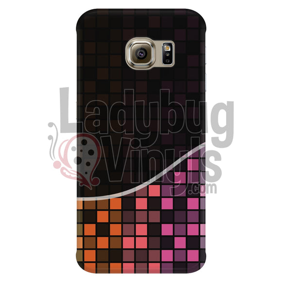 Dark Orange And Pink Grid Phone Case Galaxy S6 Edge Cases