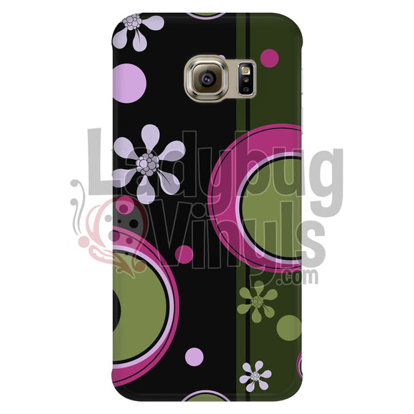 Dark Retro Pink And Green Circle Phone Case Galaxy S6 Edge Cases