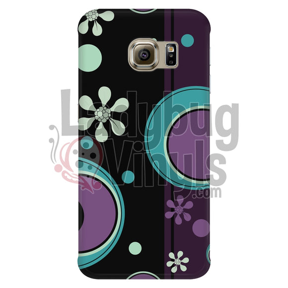 Dark Retro Purple And Teal Circles Galaxy S6 Edge Phone Cases