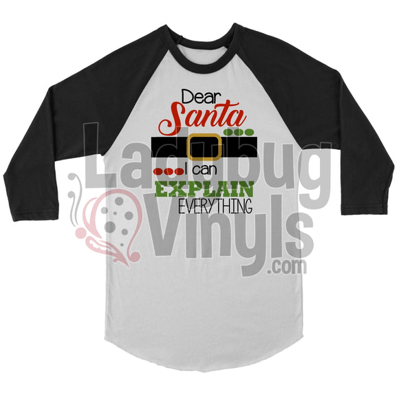 Dear Santa Raglan T-Shirt Canvas Unisex 3/4 / White/black S T-Shirt