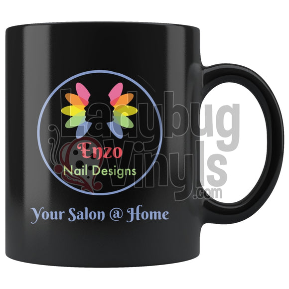 Enzo Nails 11oz Black Coffee Mug - LadybugVinyls