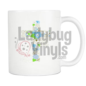 Flower Cross Mug - LadybugVinyls