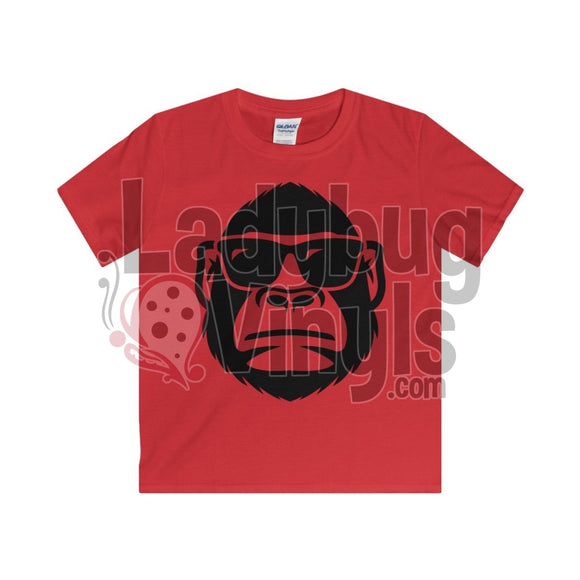 Gorilla With Sunglasses Boys T-Shirt Red / Xs Kids Clothes