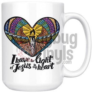 I Have The Light Of Jesus In My Heart 15oz Coffee Mug - LadybugVinyls