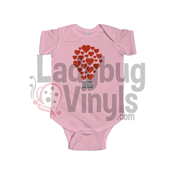 Light Bulb Of Hearts Onesie 12M / Pink Kids Clothes