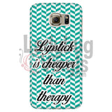 Lipstick Is Cheaper Than Therapy (teal) Phone Case - LadybugVinyls