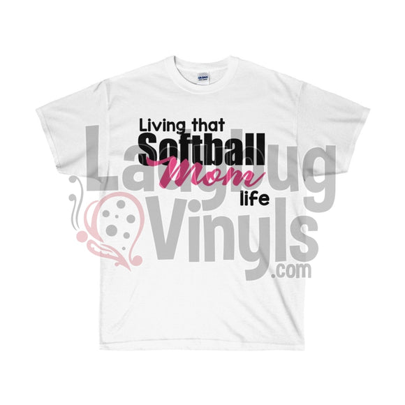 Living That Softball Mom Life Ultra Cotton T-Shirt White / S