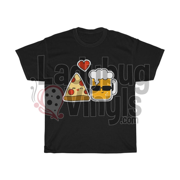 Love Pizza And Beer Mens T-Shirt Black / L