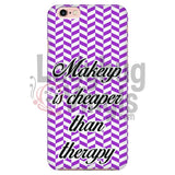 Makeup Is Cheaper Than Therapy (purple) Phone Case - LadybugVinyls