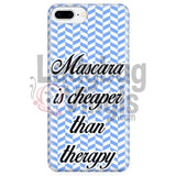 Mascara Is Cheaper Than Therapy (blue) Phone Case - LadybugVinyls