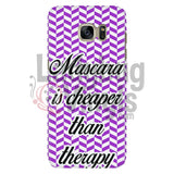 Mascara Is Cheaper Than Therapy (purple) Phone Case - LadybugVinyls