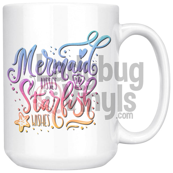Mermaid Kisses Starfish Wishes 15oz Coffee Mug - LadybugVinyls