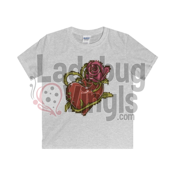 Mosaic Rose With Heart Boys T-Shirt Sport Grey / Xs Kids Clothes