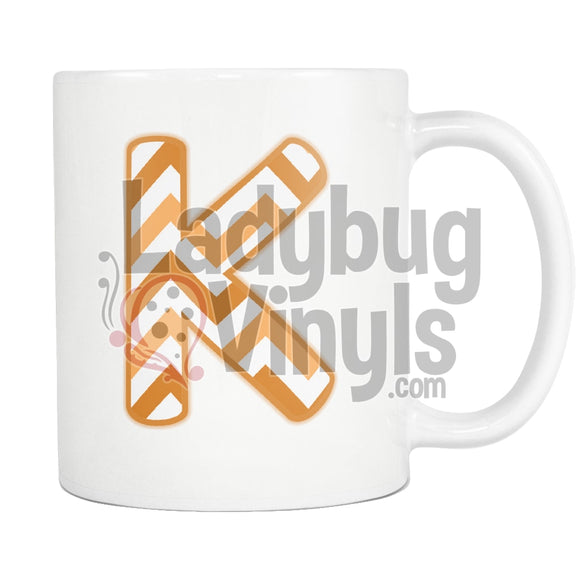 Orange Chevron Monogram (K-T) K Drinkware