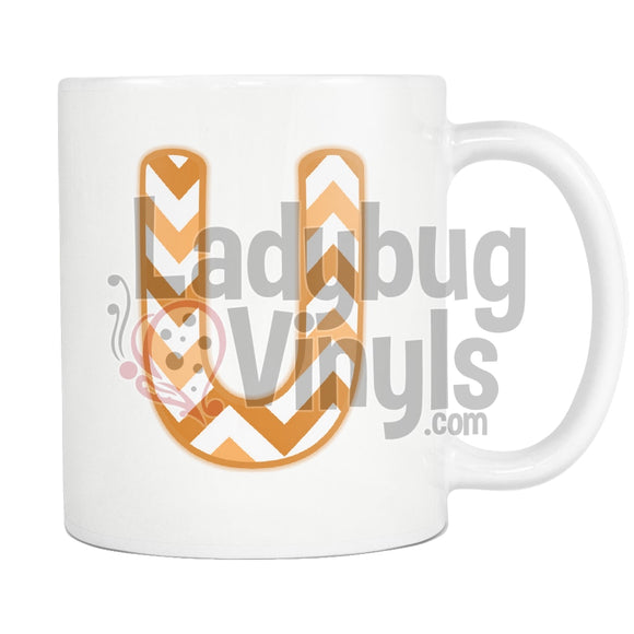 Orange Chevron Monogram Mug (U-Z) U Drinkware