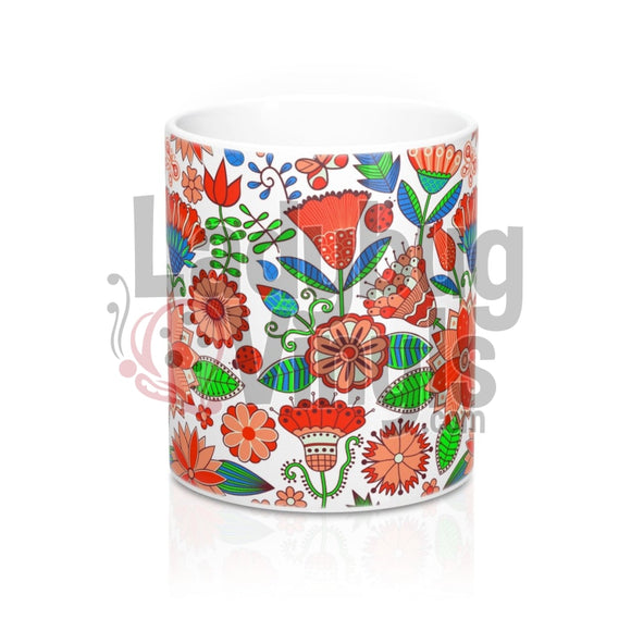 Orange Flowers All Over Print 11Oz Coffee Mug