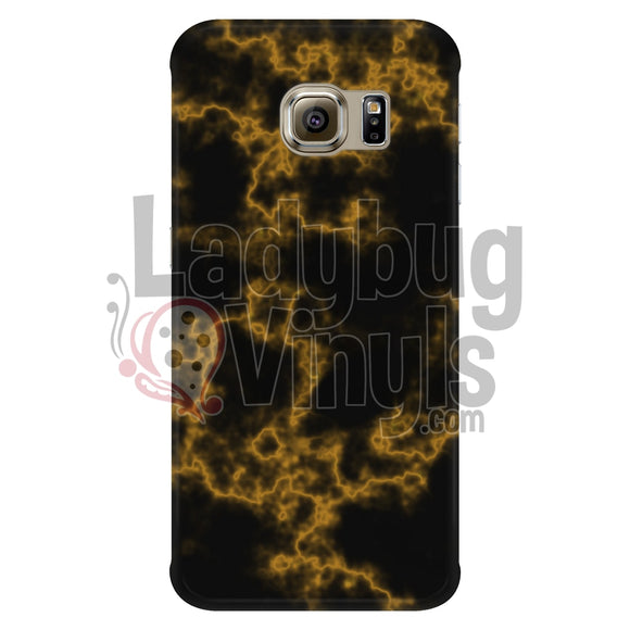 Orange On Black Marble Phone Case Galaxy S6 Edge Cases
