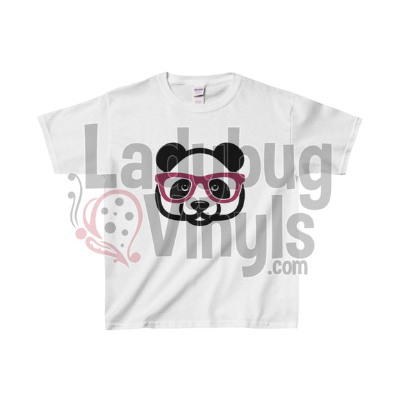 Panda With Glasses Kids Heavy Cotton Tee White / L Clothes
