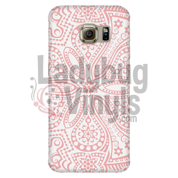Peach And White Mandala Galaxy S6 Edge Phone Cases