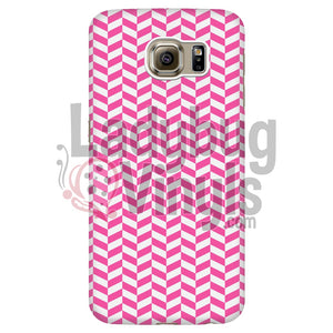 Pink And White Check Chevron Galaxy S6 Edge Phone Cases