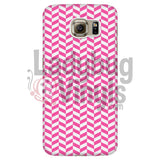 Pink And White Check Chevron Galaxy S6 Phone Cases