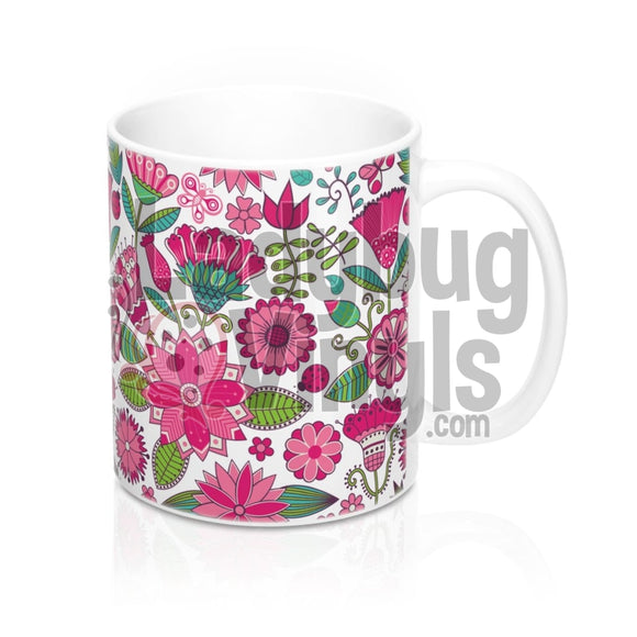 Pink Flowers All Over Print 11Oz Coffee Mug