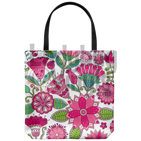 Pink Flowers Tote Bag - LadybugVinyls