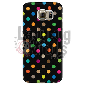 Polka Dot On Black Galaxy S6 Edge Phone Cases