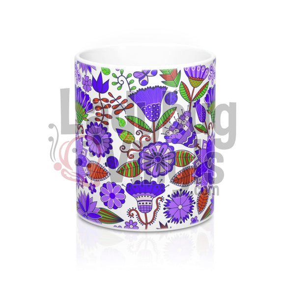Purple Flowers All Over Print 11Oz Coffee Mug