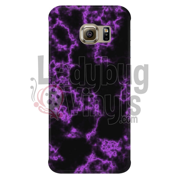 Purple On Black Marble Phone Case Galaxy S6 Edge Cases