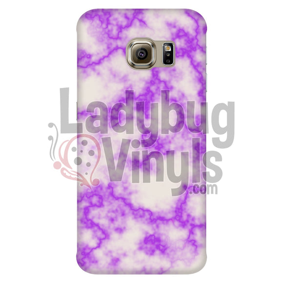 Purple On White Marble Phone Case Galaxy S6 Edge Cases