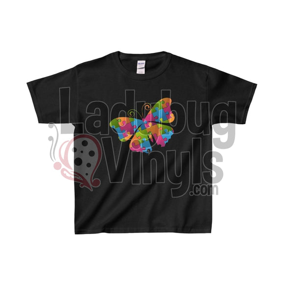 Puzzle Butterfly Kids Heavy Cotton Tee Black / L Clothes