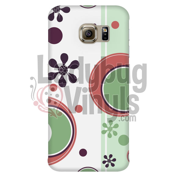 Retro Circles Pink Green Galaxy S6 Edge Phone Cases