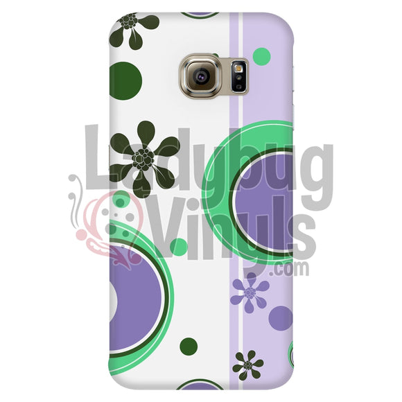 Retro Circles Purple And Green Phone Case Galaxy S6 Edge Cases