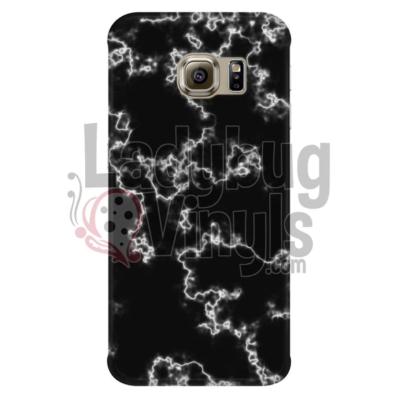 White On Black Marble Phone Case Galaxy S6 Edge Cases