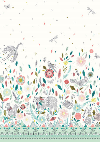 Dashwood Studios Boho Meadow Border Print White