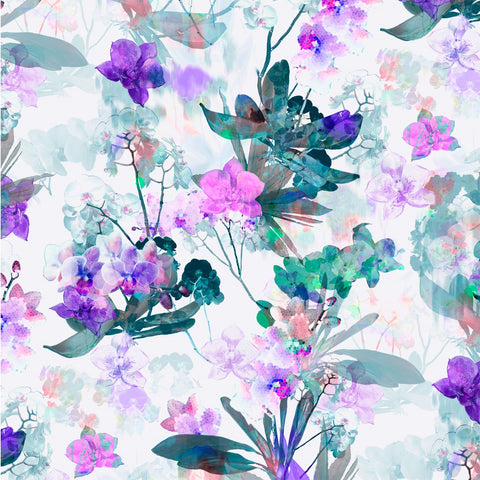 P &  B Textiles Belle Fleur Purple Large Floral Digitally Printed