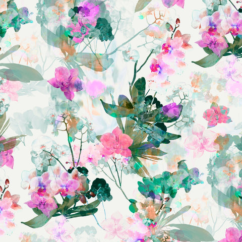 P &  B Textiles Belle Fleur Pink Large Floral Digitally Printed
