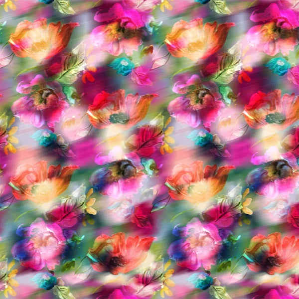 P &  B Textiles Off The Grid Multi Fantasy Floral Digitally Printed