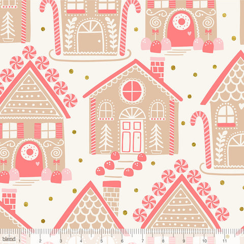 Blend Fabrics Kringle's Sweet Shop Gingerbread Lane Ivory Glitter Print