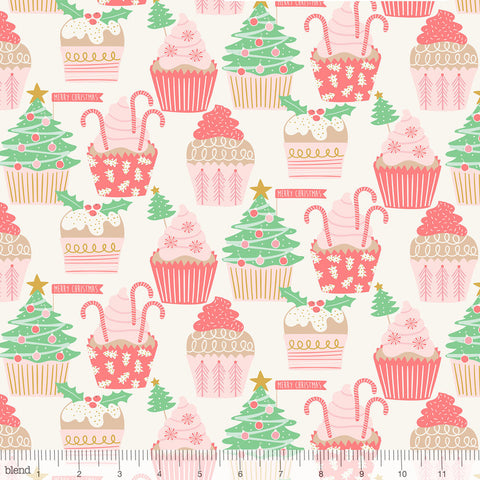 {Remnant 44cm} Blend Fabrics Kringle's Sweet Shop Christmas Cupcakes Ivory