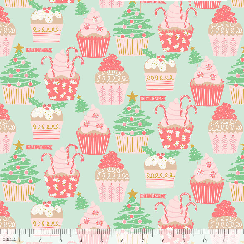 Blend Fabrics Kringle's Sweet Shop Christmas Cupcakes Green