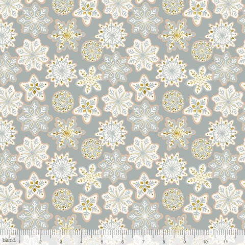 Blend Fabrics Kringle's Sweet Shop Frosted Snowflakes Grey (Glitter Print)
