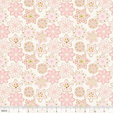 Blend Fabrics Kringle's Sweet Shop Frosted Snowflakes Ivory (Glitter Print)