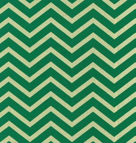Michael Miller Holiday Glitz Sleek Chevron Spearmint Metallic Gold