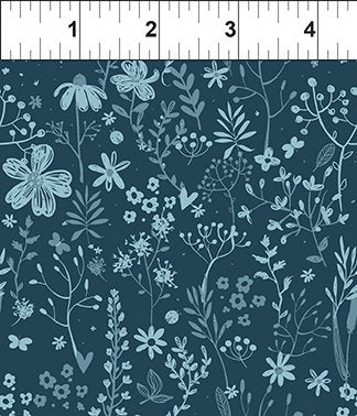 In The Beginning Fabrics Mermaid & Unicorns Tonal Flowers Navy