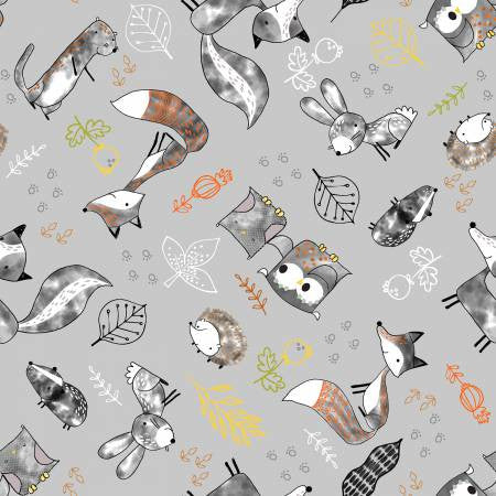 Fabric Editions Just Friends Grey Tossed Animals